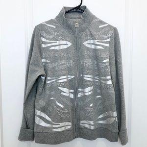 BCBG Maxazria Zip Up Gray Sweatshirt XL